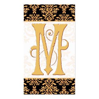 Monograma elegante de la inicial M del damasco del Tarjeta De Negocio