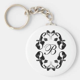 Monograma elegante de la novia llavero personalizado