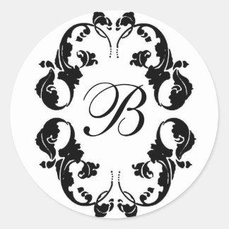 Monograma elegante de la novia pegatina redonda