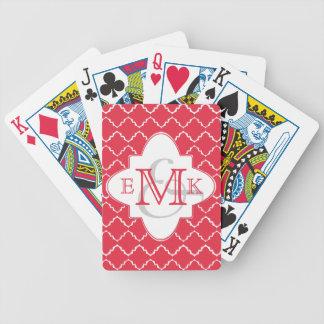 Monograma elegante de Quatrefoil - blanco rojo Cartas De Juego