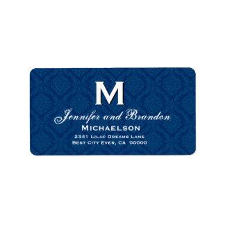 Monograma elegante del boda de los azules marinos  etiquetas de dirección