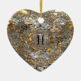 Monograma elegante del corazón de la herencia ornamento de reyes magos