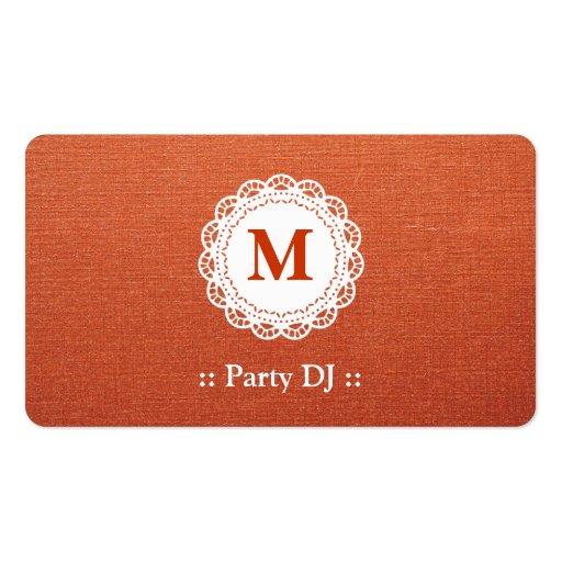 Monograma elegante del cordón de DJ del fiesta Plantilla De Tarjeta De Negocio