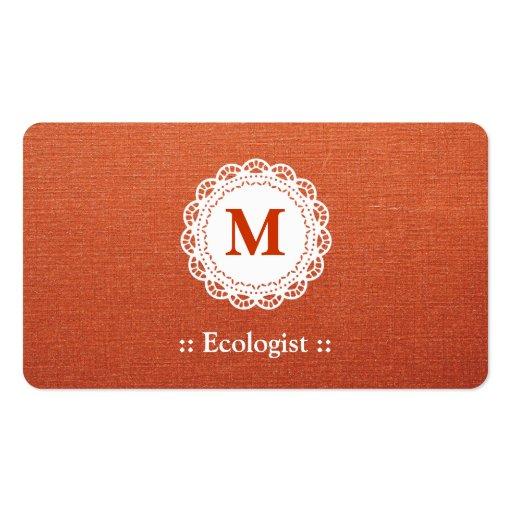 Monograma elegante del cordón del ecologista tarjeta de negocio