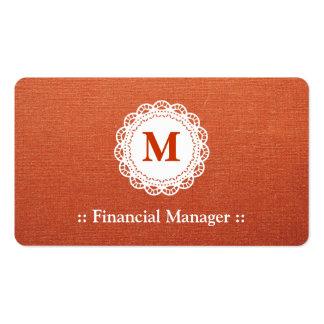 Monograma elegante del cordón del encargado financ tarjetas de visita