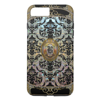 Monograma elegante del damasco de Halleesham más Funda iPhone 7 Plus