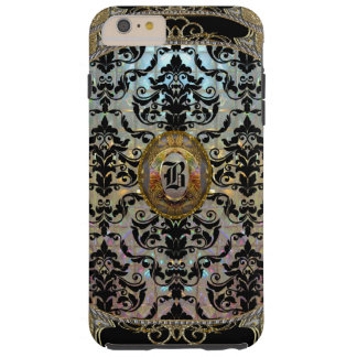 Monograma elegante del damasco de Halleesham más Funda Para iPhone 6 Plus Tough