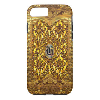 Monograma elegante del damasco de la antorcha funda iPhone 7
