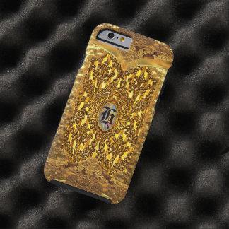 Monograma elegante del damasco de la antorcha funda resistente iPhone 6
