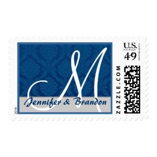 Monograma elegante del damasco de la bodas de timbre postal