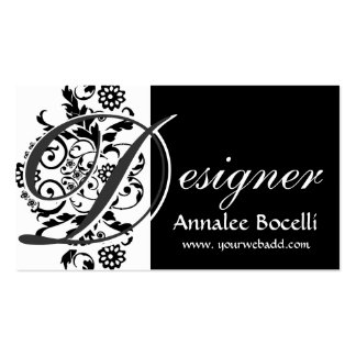 Monograma elegante   del diseñador tarjeta de visita
