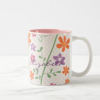 Monograma elegante del diseño del estampado de taza de dos tonos