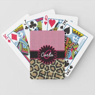 Monograma elegante del estampado leopardo y del lu baraja de cartas bicycle