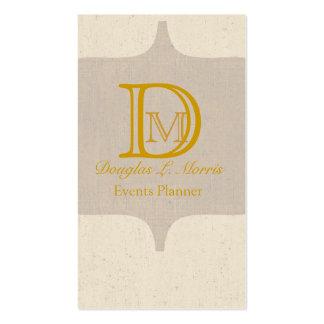 Monograma elegante del oro retro antiguo del tarjetas de visita