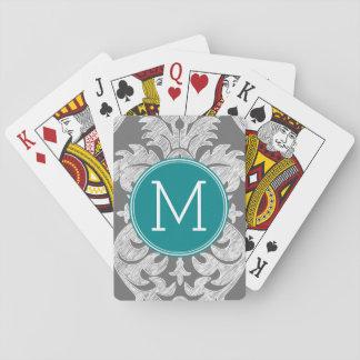 Monograma elegante del personalizado del modelo de cartas de juego