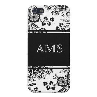 Monograma elegante en floral blanco y negro del iPhone 5 coberturas
