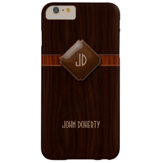 Monograma elegante en la madera funda barely there iPhone 6 plus