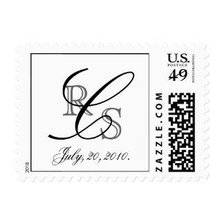 Monograma elegante franqueo negro y gris de C de U