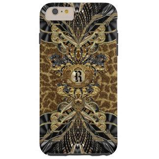 Monograma elegante lateral salvaje del leopardo funda de iPhone 6 plus tough
