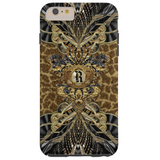 Monograma elegante lateral salvaje del leopardo funda para iPhone 6 plus tough