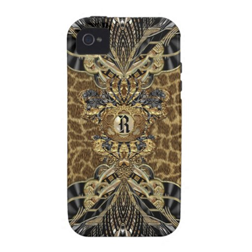 Monograma elegante lateral salvaje Case-Mate iPhone 4 funda