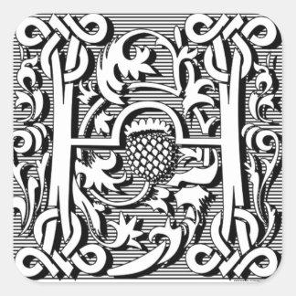 monograma elegante moderno de la letra de lujo (h) pegatina cuadrada