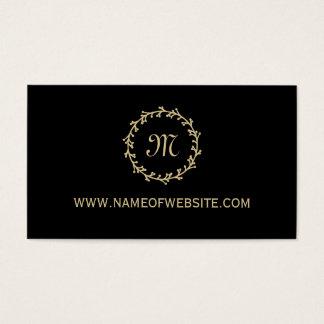 Monograma elegante negro profesional simple del tarjetas de visita