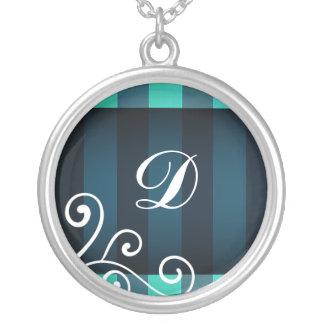 Monograma elegante oscuro de la decoración del colgante redondo