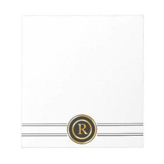 Monograma elegante R del oro Libretas Para Notas