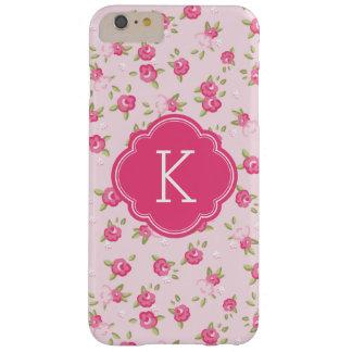 Monograma elegante rosado de la impresión floral funda de iPhone 6 plus barely there