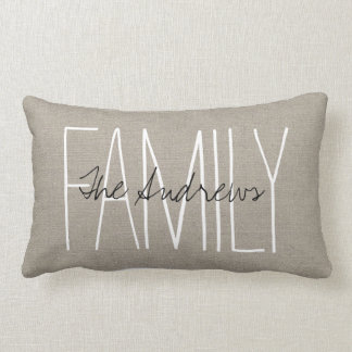 Monograma elegante rústico de la familia cojín