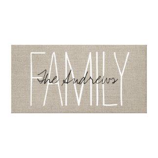 Monograma elegante rústico de la familia impresión en lienzo estirada