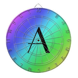 Monograma en colores pastel del arco iris tablero de dardos