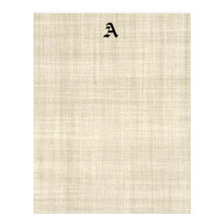 Monograma en el aviador de lino del fondo del pape tarjetas informativas