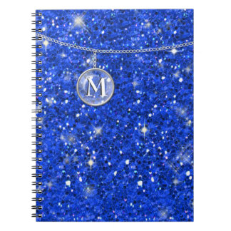 Monograma en el brillo azul de cadena ID145 Cuaderno