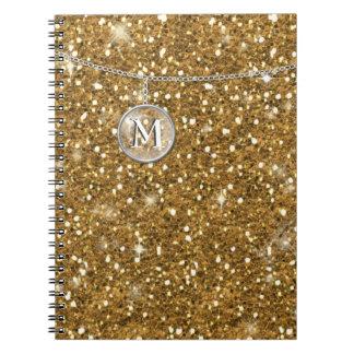 Monograma en el brillo de cadena ID145 del oro Spiral Notebook