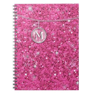 Monograma en el brillo rosado de cadena ID145 Spiral Notebooks