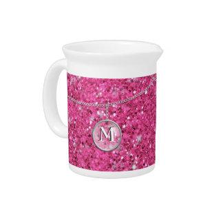 Monograma en el magnetocardiograma rosado de jarra de beber