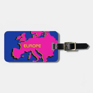 Monograma en el mapa rosado de Europa - etiqueta d Etiqueta Para Equipaje