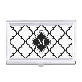 Monograma en el modelo blanco negro de Quatrefoil Caja De Tarjetas De Visita