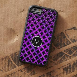 Monograma en el modelo púrpura negro de Quatrefoil Funda De iPhone 6 Tough Xtreme
