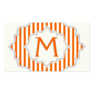 Monograma en un marco con el naranja, rayas tarjetas de visita
