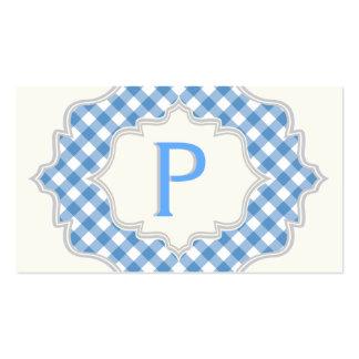 Monograma en un marco con guinga azul, blanca tarjetas de visita