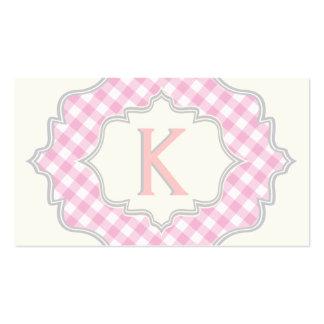 Monograma en un marco con guinga rosada, blanca tarjetas de visita
