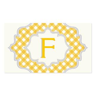 Monograma en un marco, modelo blanco amarillo de tarjetas de visita
