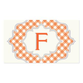 Monograma en un marco, modelo blanco anaranjado de tarjetas de visita