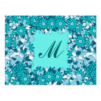 Monograma enmarcado con las flores - azul y blanco tarjeta postal