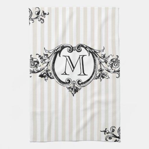 Monograma enmarcado en rayas toallas de cocina