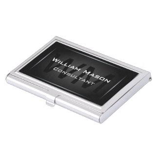 Monograma enmarcado negro - tenedor de la tarjeta  cajas de tarjetas de presentación