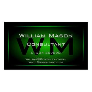 Monograma enmarcado negro y verde - tarjeta de vis tarjeta de visita